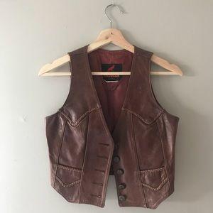 Cordovan vintage leather vest